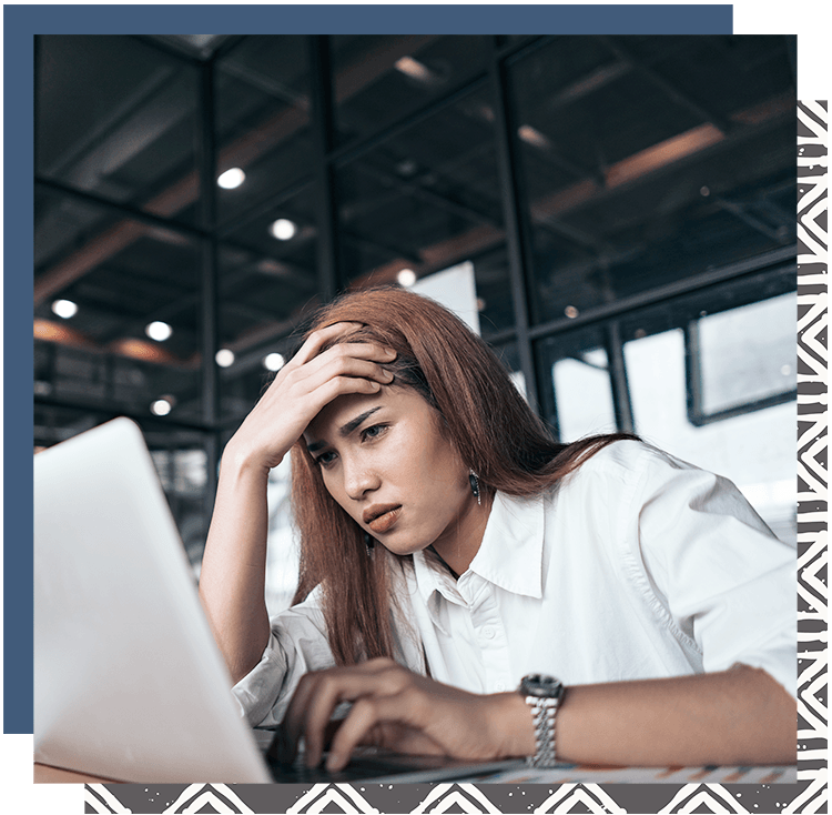Woman frustrated because she doesn't have an easy to Customize Showit Website Template for Coaches, Creatives, Bloggers, Consultants