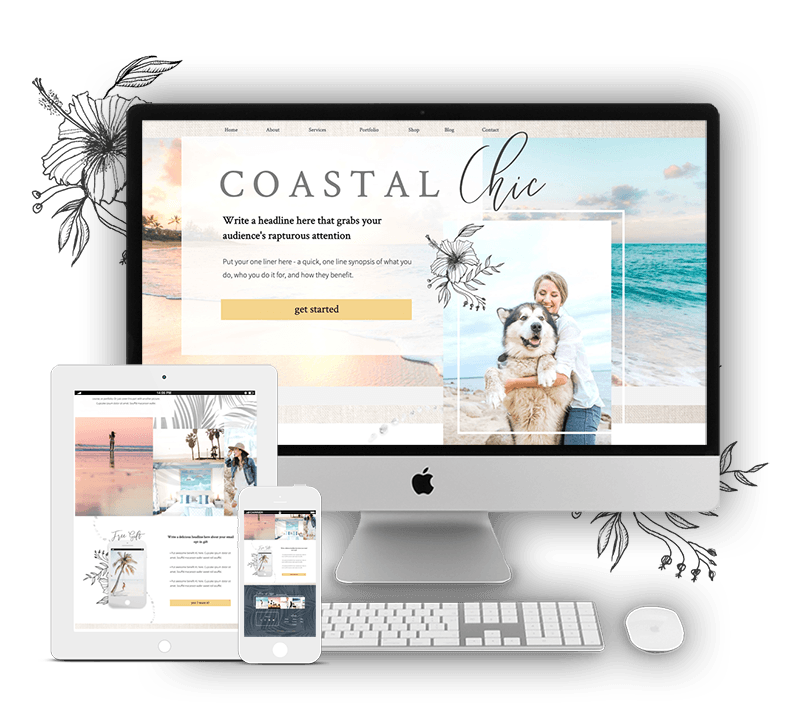 Coastal Showit Website Template for Women Coaches, Consultants, Service Providers