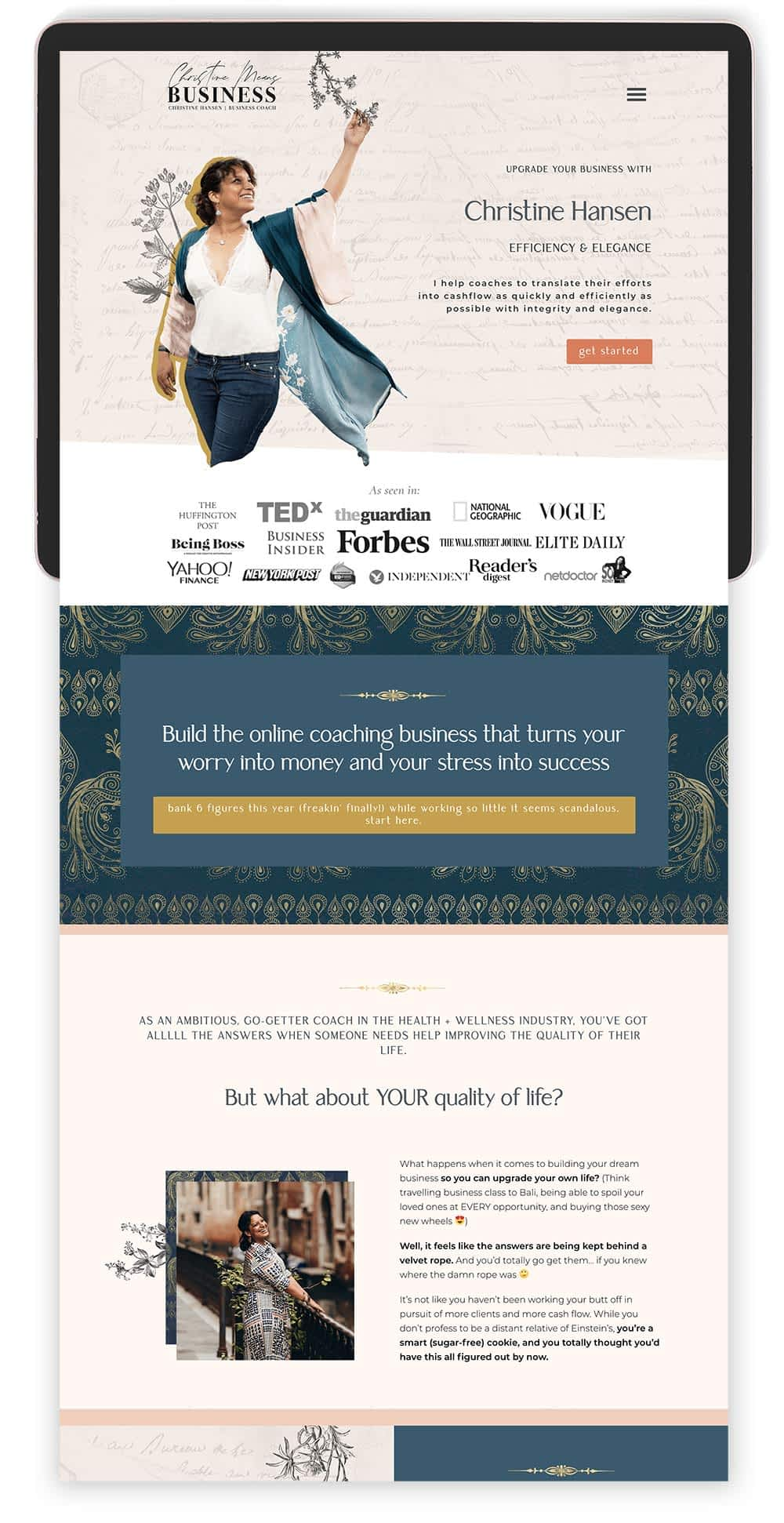 Image of Christine Hansen's Website by Tracy Raftl Design