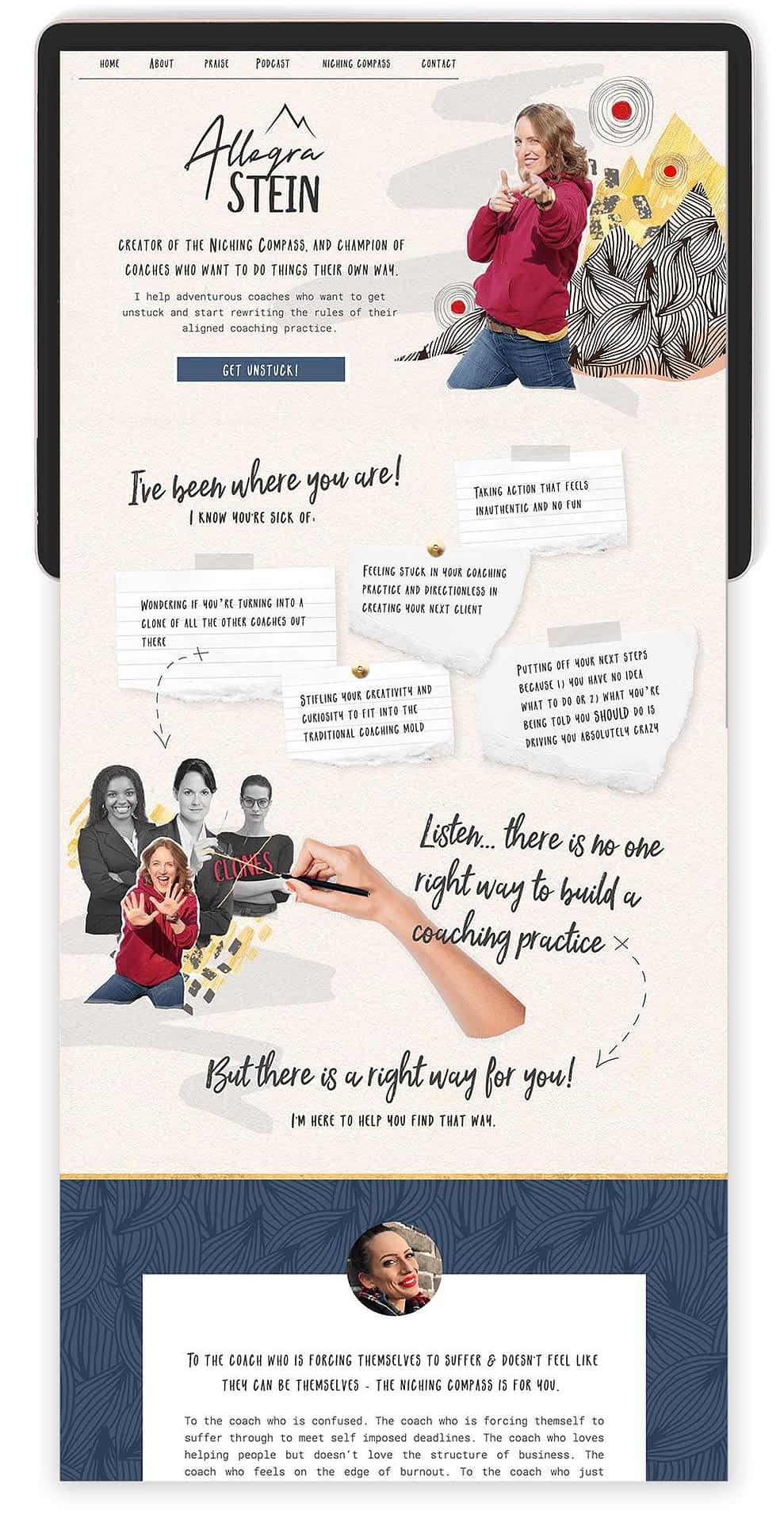 Image of Allegra Stein's Website by Tracy Raftl Design