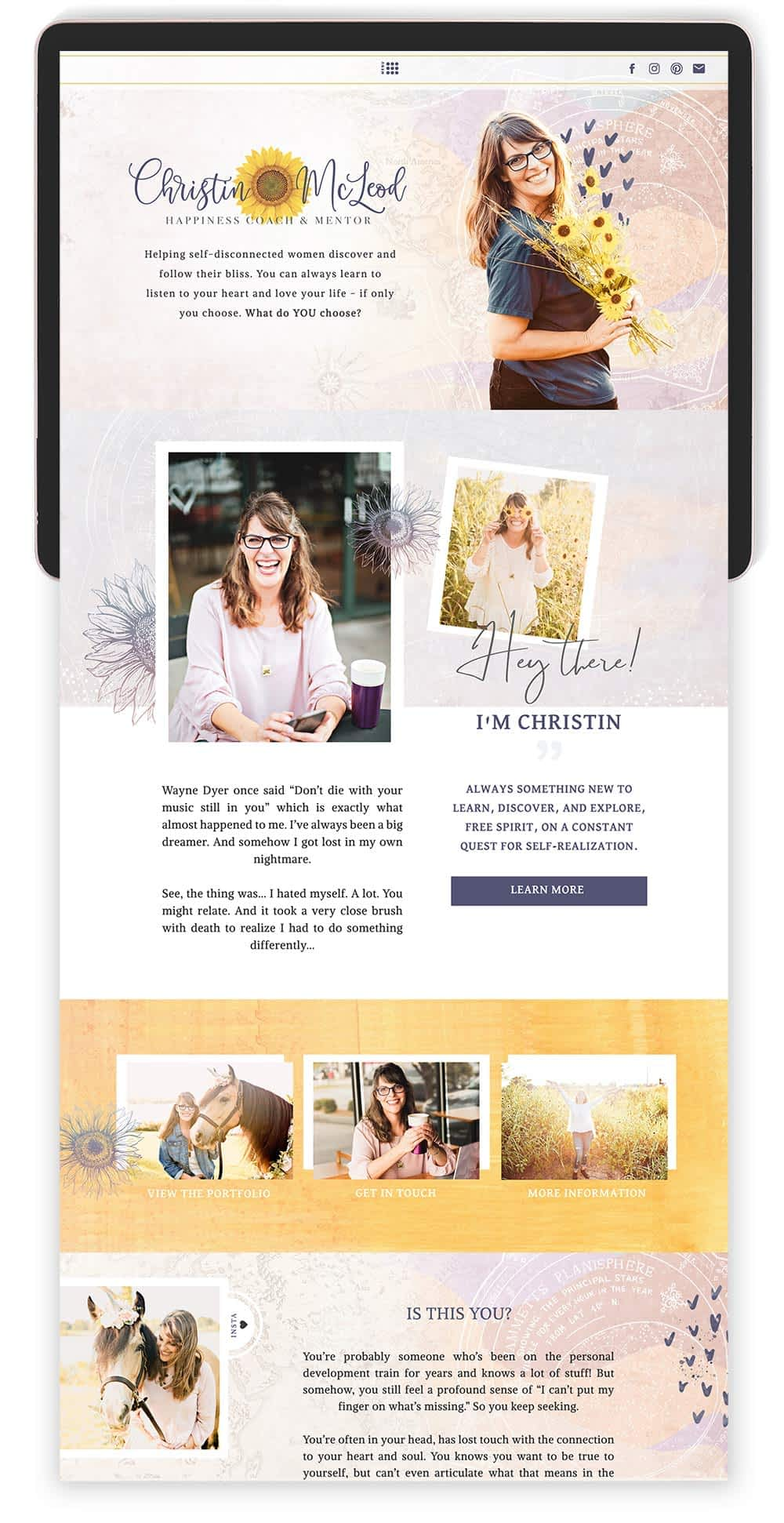 Image of Christin McLeod's Website by Tracy Raftl Design