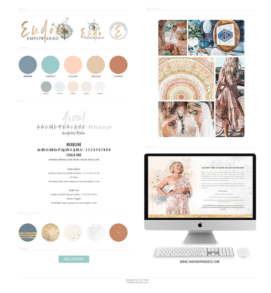 Mel Turner, Endo Empowered brand style guide by Tracy Raftl Design