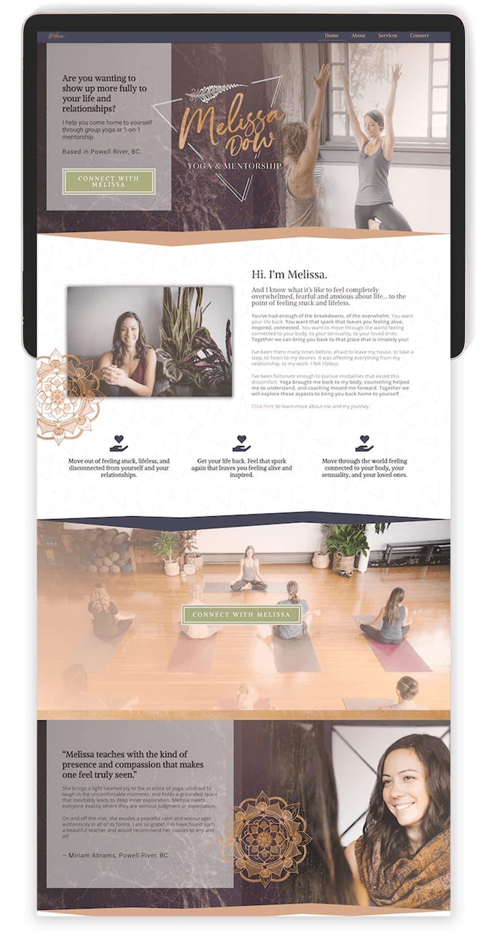 Image of Melissa Dow's Website by Tracy Raftl Design