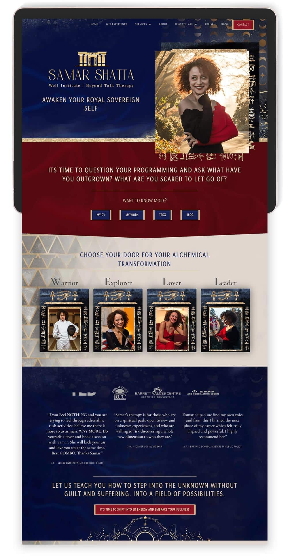 Image of Samar Shatta's Website by Tracy Raftl Design